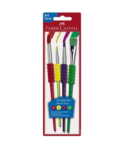 Faber Castell - Set 4 Pensule cu grip Soft Touch 481600
