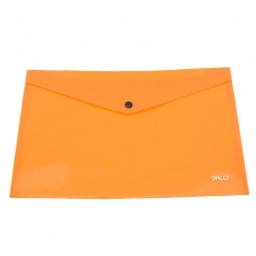 Daco - Mapă plastic cu capsă A4 portocalie