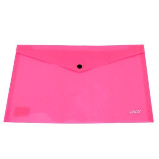 Daco - Mapă plastic cu capsă A4 roz