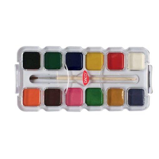 Daco - Acuarele 12 culori semi-uscate + pensula AR127