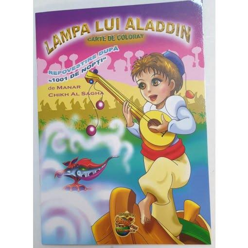 Omnibooks - Carte de colorat cu poveste Lampa lui Alladin