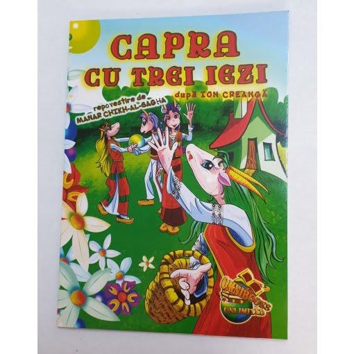 Omnibooks - Carte de colorat cu poveste Capra cu trei iezi
