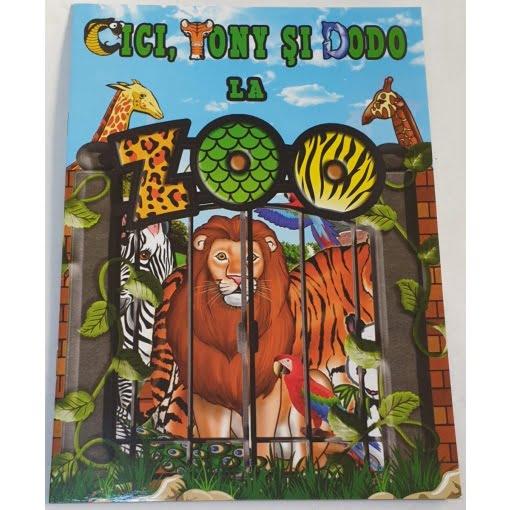 Omnibooks - Carte de colorat cu poveste Cici, Tony și Dodo la Zoo