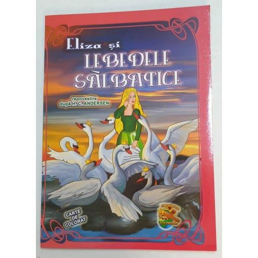 Omnibooks - Carte de colorat cu poveste Eliza și Lebedele sălbatice