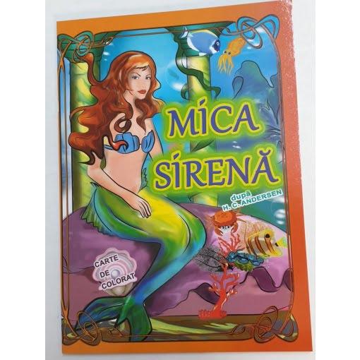 Omnibooks - Carte de colorat cu poveste Mica Sirenă