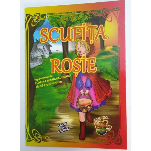 Omnibooks - Carte de colorat cu poveste Scufița roșie