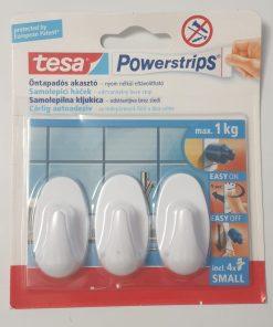 Tesa - Cârlige autoadezive ovale set 3 bucăți albe