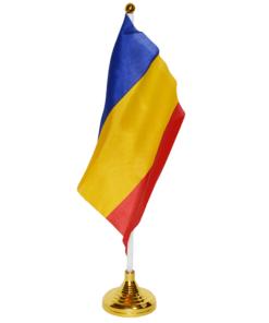 Steag tricolor Românesc pânză pentru birou 15 x 21 cm