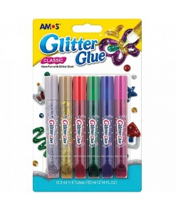 Amos Set Lipici Glitter 6 culori GCL10B6