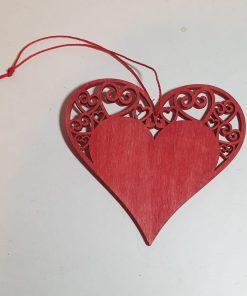 PentArt - Decorațiune lemn inimă roșie 4215
