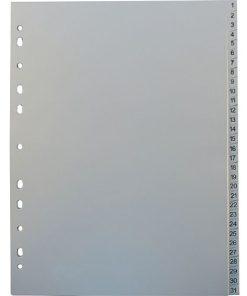 Separatoare Index numerotat din plastic A4 gri set 1-31