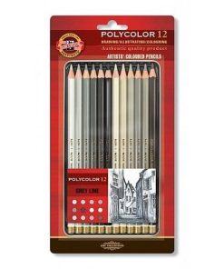Koh-I-Noor Creioane Colorate Polycolor în cutie metalică set 12 gri