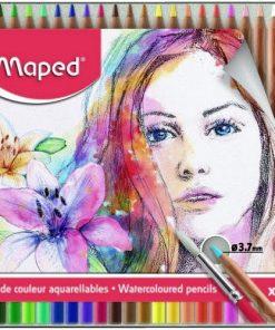 Maped - Creioane colorate Aquarell în cutie metalică set 24