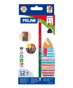 Milan Creioane Colorate Bicolor set 12