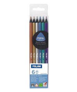 Milan Creioane Colorate set 6 culori metalizate