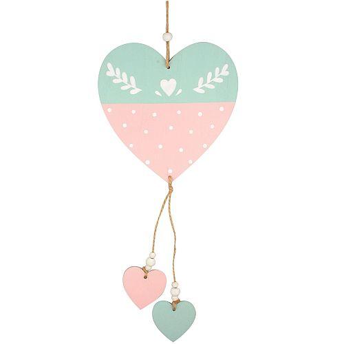 Andel Prerov Decorațiune lemn Inimi 30 cm 8760