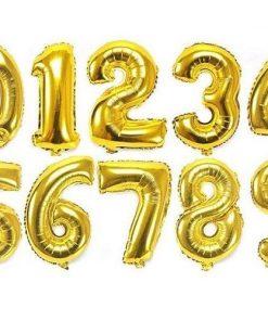 Baloane Folie 41cm cifre 0-9 Auriu