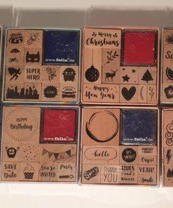 Folia Set Stampile din lemn si 2 tusiere