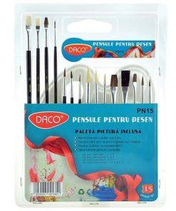 Daco - Set 15 pensule pentru desen PN15