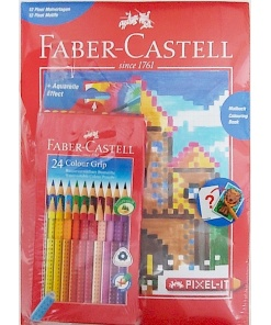 Faber Castell - Set Creioane Colour Grip 24 culori + Carte de colorat Pixel-It