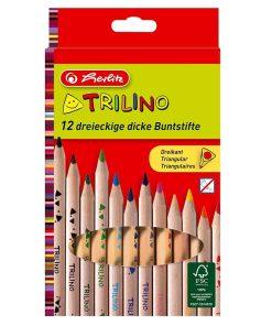 Herlitz - Set 12 creioane colorate triunghiulare Trilino