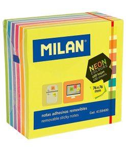 Milan Bloc Notite adeziv 76x76mm culori neon 400 coli