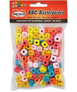 Mix perle alfabet cubice 132 din lemn colorate