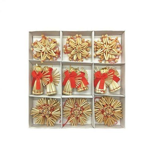 Set 30 ornamente din paie Andel Prerov 2322 Set 30 de ornamente in 3 modele diferite: stea, fulg si ingeras, cu detalii rosii ca decoratiune pentru bradul de Craciun.