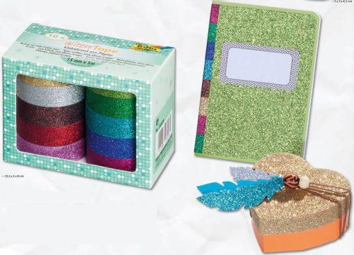 Folia - GlitzerTape bandă sclipici Set 10 culori