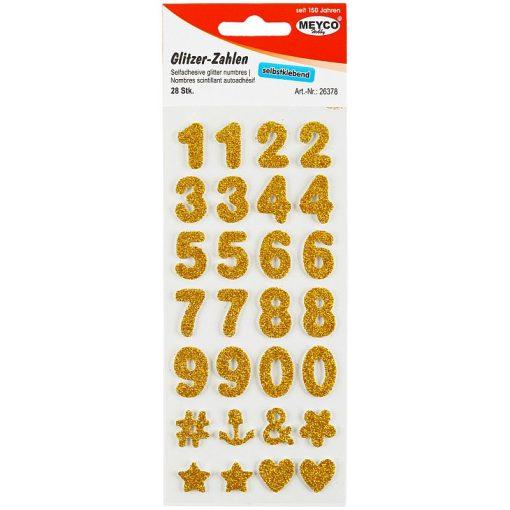 Meyco Cifre cu Glitter Autoadezive Aurii 26378