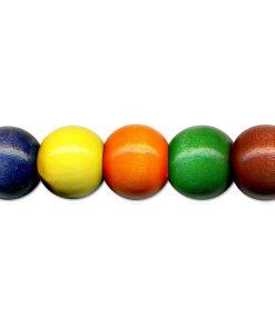 Meyco Perle Colorate de lemn, forma rotunda