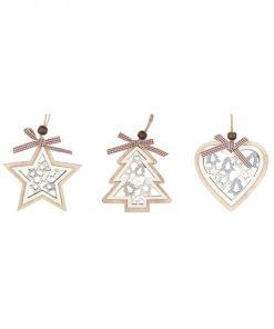 Set 3 ornamente brad din lemn Andel Prerov 4867