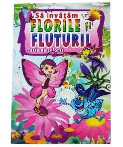 Omnibooks Carte de colorat Să învățăm Florile și Fluturii