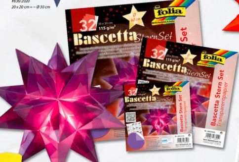 Hârtie origami Stea Folia culori transparente 2 marimi