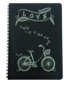 Spree Caiet de desen hartie neagra Love bicycle