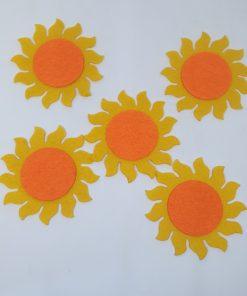 Set 5 Floarea soarelui din fetru decorativ