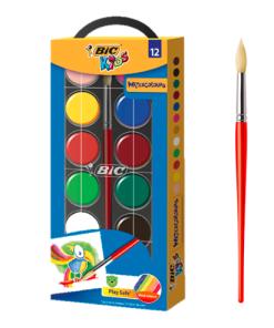 Acuarele scolare cu pensula Bic set 12