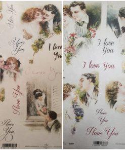 I love you - Hartie de orez iubire ITD | 2 modele