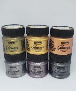 Vopsea acrilica metalica glamour 50 ml PentArt   6 culori