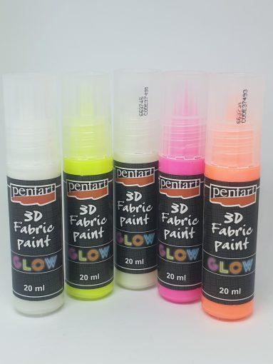 Vopsea textile 3D Glow 20 ml PentArt | 5 culori